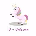 Isolated animal alphabet for the kids,U for Unicorn