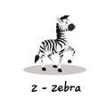 Isolated animal alphabet for the kids,Z for Zebra