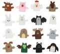 Isolated animal finger puppets Royalty Free Stock Photography