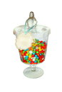 Isolated bank with colored sweets there is a sign on which you can add your own text a great Stock Image