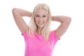 Isolated beautiful young woman in pink shirt with smiling face. Royalty Free Stock Photo