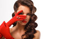 Isolated Beauty Fashion Glamorous Model Girl Portrait. Vintage Style Mysterious Woman Wearing Red Glamour Gloves. Royalty Free Stock Photo
