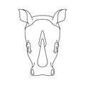 Isolated black outline head of rhinoceros, rhino on white background. Line cartoon face portrait. Royalty Free Stock Photo
