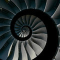 Isolated on black turbine blades wings spiral effect abstract fractal pattern background. Spiral industrial production metallic tu Royalty Free Stock Photo