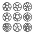 Isolated black and white color alloy wheels logo collection, car elements logotype set vector illustration. Royalty Free Stock Photo