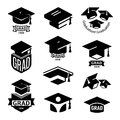 Isolated black and white color students graduation hat logo collection, mortarboard of books logotype set, university Royalty Free Stock Photo