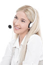 Isolated blond manager with headset Royalty Free Stock Photo