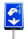 Isolated blue parking payment sign pay here with white arrow Royalty Free Stock Photo