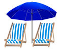 Isolated blue umbrella and two loungers on the background