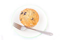 Isolated blueberry muffin on a plate with fork Royalty Free Stock Photo