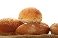 Isolated bread a lot of different breads are on sackcloth isolate Stock Photos