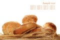 Isolated bread a lot of different breads are on sackcloth isolate Stock Image