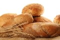 Isolated bread a lot of different breads are on sackcloth isolate Royalty Free Stock Images