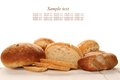 Isolated bread a lot of different breads are on sackcloth isolate Stock Images