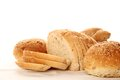 Isolated bread a lot of different breads are on sackcloth isolate Royalty Free Stock Photo
