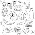 Isolated breakfast food art card vector