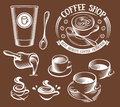 Isolated brown color cup in retro style logos set, logotypes collection for coffee shop vector illustration.