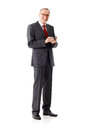 Isolated business senior man, writing sms Royalty Free Stock Photo