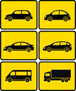 Isolated cars on yellow buttons set of silhouettes Royalty Free Stock Photo