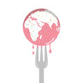 Isolated cartoon of pink sprinkle earth cake and fork