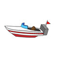 Isolated Cartoon Speed Boat.