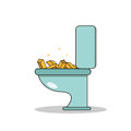 Isolated cartoon treasure gold on toilet Royalty Free Stock Photo