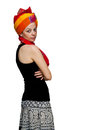 Isolated caucasian girl with indian wedding turban Stock Image