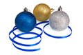 Isolated Christmas Balls and Blue Ribbon Royalty Free Stock Photos