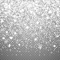 Isolated Christmas falling snow overlay on transparent background. Royalty Free Stock Photo