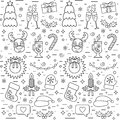 Isolated Christmas and New Year seamless pattern with traditional attributes in line style. Vector Royalty Free Stock Photo