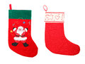 Isolated christmas stockings two red festive on white santa claus figure on one stocking Royalty Free Stock Photography