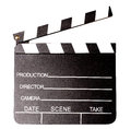 Isolated clapperboard closeup shot over white background Royalty Free Stock Image