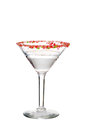 Isolated clear candy cane martini on white Stock Image