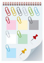Isolated clips and thumbtacks Stock Photo