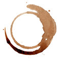 Isolated coffee stain on white background Stock Images