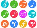 Colorful freehead music note icon buttons set Royalty Free Stock Photo