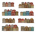 Isolated colorful low-rise houses,city elements vector illustrations set, municipal buildings icons collection.