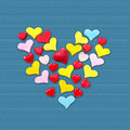 Isolated colorful red heart symbol for valentine love and hap of many different hearts on blue Royalty Free Stock Photo