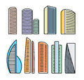 Isolated colorful skyscrapers in lineart style icons collection, elements of urban architectural buildings vector