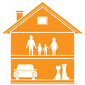 Isolated cottage symbol house happy family home Stock Image