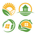 Isolated countryside house vector logo set. Agriculture symbol collection.