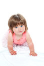 Isolated curious pretty girl child crawling Stock Photo