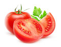 Isolated cut tomatoes Royalty Free Stock Photo