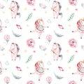 Isolated cute watercolor unicorn pattern. Nursery magic unicorns aquarelle. Princess miracle unicorns collection. Trendy