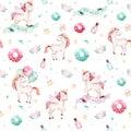 Isolated cute watercolor unicorn pattern. Nursery rainbow unicorns aquarelle. Princess unicornscollection. Trendy pink