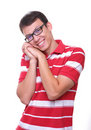 Isolated cute young man smiling with glasses Royalty Free Stock Photo