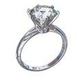 Isolated Diamond Ring Illustration Royalty Free Stock Photo