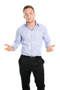 Isolated disappointed young business man searching for arguments and a solution Stock Photography