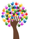Isolated diversity hands tree background Royalty Free Stock Photo