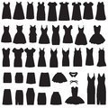 Isolated dress and skirt silhouette vector collection of clothing icons Royalty Free Stock Images